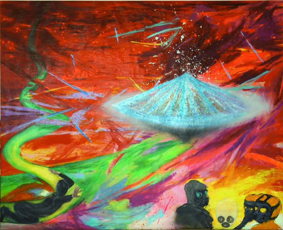 DE MUYNCK, Up Up & Away. Acryl auf Leinwand, 240 x 300 cm, 2015