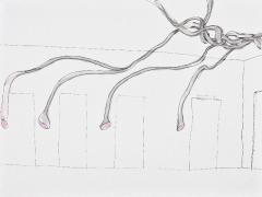 Ideenskizze Hörrohrwürger. Tusche laviert, Acryl auf Papier, 40 cx 50 cm, 2010