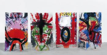 KörperKörper. Acryl auf Plexiglas, 4 x 150 x 75 cm, Rückseiten, 2003