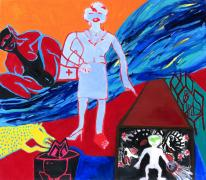 Me three. (By the River). Acrylic on canvas, 200 x 220 cm, 2002