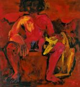 Red One with Yellow Dog. Acrylic on canvas. 120 x 100 cm, 1993