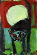 Full Moon Cat. Acrylic on paper. 80 x 60 cm, 1993