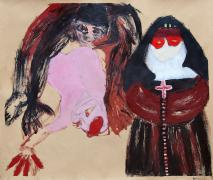 Paar Pastoral (La Gourmandise 1). Painted drawing. Acrylic/oilstick on paper, 90 x 120 cm, 2001