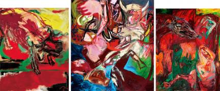Cow Heaven. Triptych. Fury Cow, 1997, Cow Heaven, 2001, Cow and Calf, 1994. Acrylic/oil on canvas, 240 x 525 cm