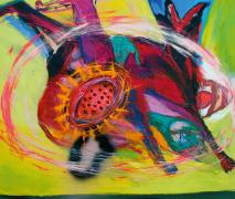 Whirling over the Meadow. Acrylic/oil/Spray on canvas, 120 x 140 cm, 2003
