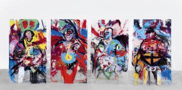 KörperKörper. Acryl auf Plexiglas, 4 x 150 x 75 cm, Vorderseiten, 2003