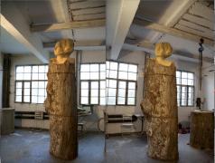 Mémoire du bois_Gabriele Münter_Arbre. Sculpture. Bois de tilleul de 110 ans, ca. 308 x 90 x 64 cm, 2008