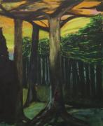 Een stuk bos; mannen;  monsters