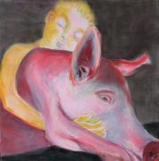 Dona Nobis Pacem_Schwein (_porc), 2016. Pastel sur bois, 50 x 50 cm