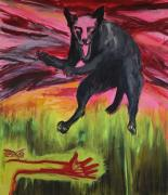 Hondsdolle Hond (Mad Dog), 2016. Acryl op doek, 140 x 120 cm