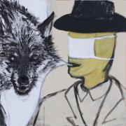 Wolf. Acryl op hout, 50 x 50 cm, 2013