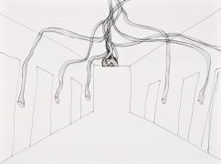 Ideenskizze Hörrohrwürger 2. Tusche laviert, Acryl auf Papier, 40 cx 50 cm, 2010